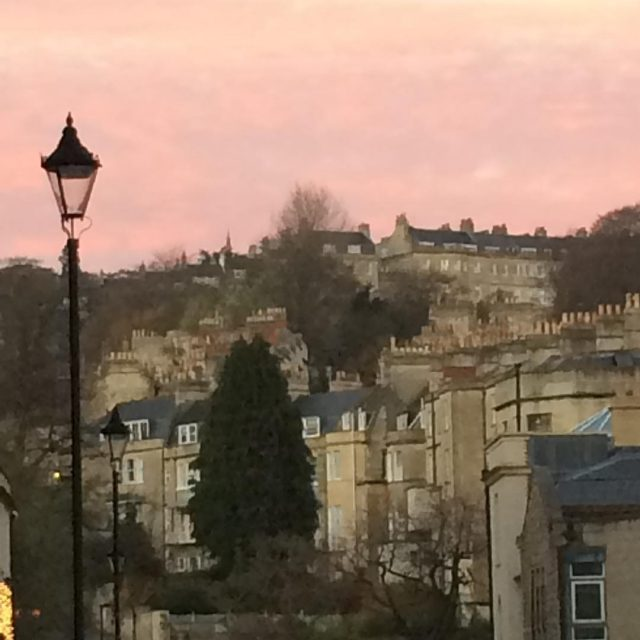 Pink sky over Bath earlier Lovely wintery walk  followedhellip